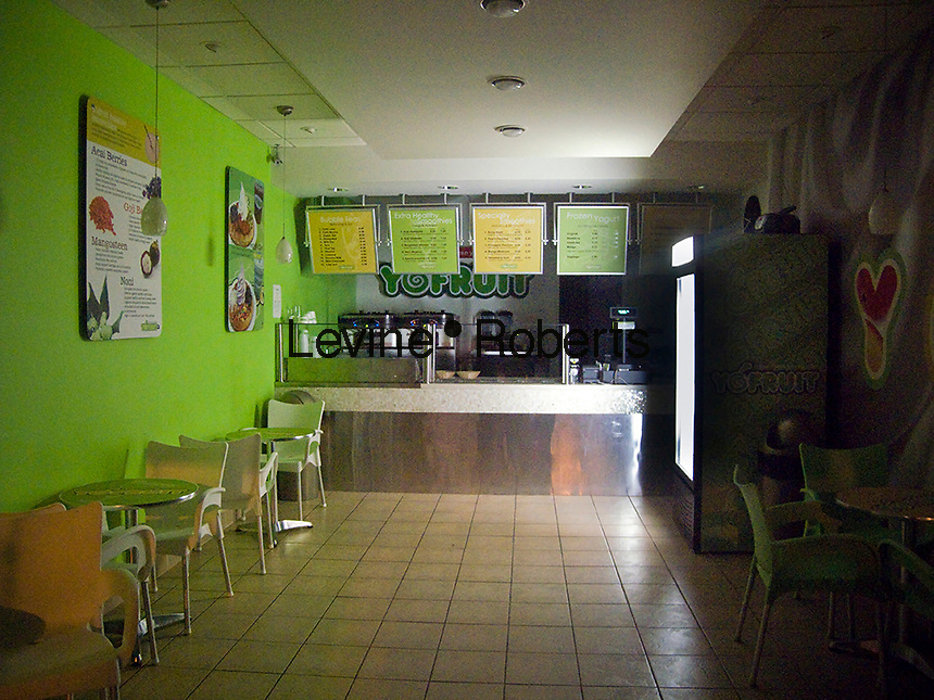 A closed YoFruit frozen yogurt store in the New York neighborhood of Chelsea is seen on Wednesday, January 28, 2009. The store, which had only been open several months has closed. Frozen yogurt stores  and kiosks within stores have popped up all over the city. (© Richard B. Levine)