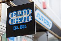 """Pictured: Spillers Records. Friday 13 September 2019<br /> Re: American Band Pixies have signed copies of their latest album """"Beneath The Eyrie"""" at Spillers Records, the oldest record shop in the world, in Morgan Arcade, Cardiff, Wales, UK."""