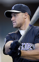Gabe Kapler of the Colorado Rockies before a 2002 MLB season game against the Los Angeles Dodgers at Dodger Stadium, in Los Angeles, California. (Larry Goren/Four Seam Images)