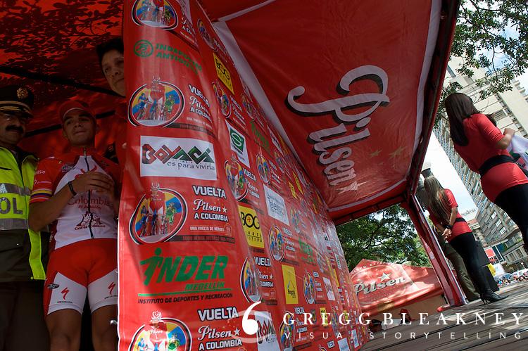Fabio Duarte waits to take his place on the podium - Bogota - Colombia