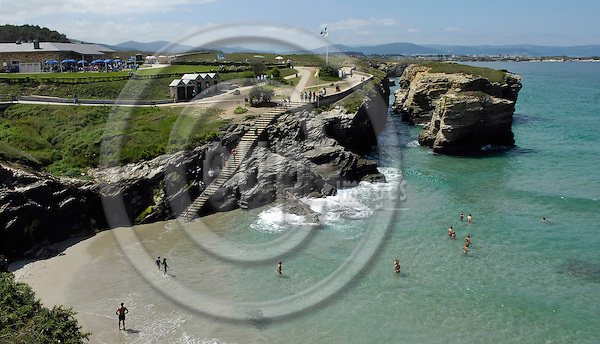 Ribadeo-Galicia-Spain, August 17, 2009 -- Beach, coast, rock formation at As Catedrais -- landscape, tourism, infrastructure -- Photo: Horst Wagner / eup-images