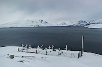 Kapisillit, Greenland - A cemetery for locals is located on top of a small hill in Kapisillit, Greenland, March 2016. Kapisillit is a settlement in the Sermersooq municipality in southwestern Greenland. In 2016, the settlement has about 60 inhabitants. Kapisillit means the salmon in the Greenlandic language. The name refers to the belief that the only spawning-ground for salmon in Greenland is a river near the settlement.