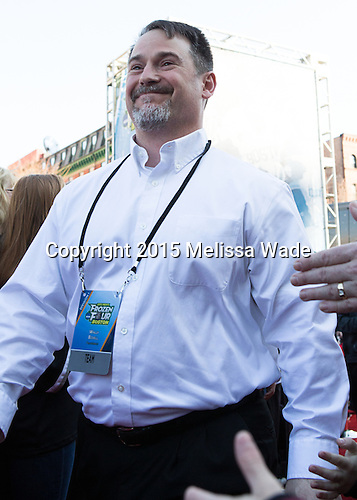 Wally Bzdell (Sport Psychologist) - The teams walked the red carpet through the Fan Fest outside TD Garden prior to the Frozen Four final on Saturday, April 11, 2015, in Boston, Massachusetts.