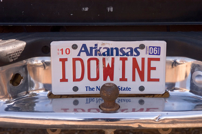 Truck of winery owner display unique license plate