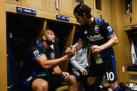 San Jose, CA - Saturday, March 04, 2017: Victor Bernardez, Jahmir Hyka after a Major League Soccer (MLS) match between the San Jose Earthquakes and the Montreal Impact at Avaya Stadium.