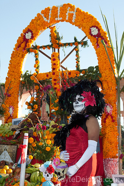 An ofrenda (tribute altar) for victims of HIV at the  Dia de Los Muertos celebration at Hollywood Forever Cemetery in Hollywood, CA