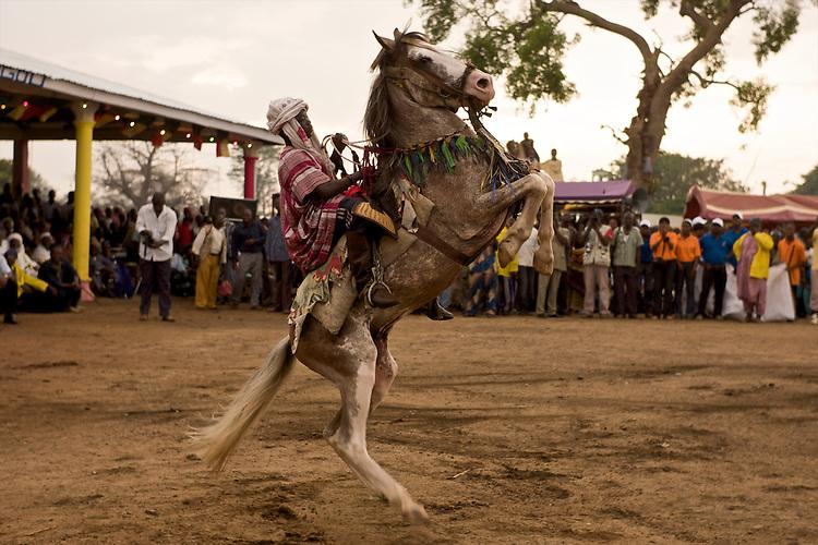 The Gaani festival. Rachidou, 8 years old and youngest rider among the horsemen of Djougou, and his horse. Courbette.<br />  <br /> La f&ecirc;te de la Gaani. Rachidou, 8 ans et plus jeune cavalier de Djougou, et son cheval. Courbette.