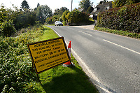 BNPS.co.uk (01202 558833)<br /> Pic: ZacharyCulpin/BNPS<br /> <br /> A sign at the location of the proposed road closure in Godmanstone informing motorists of the dates of the drainage works.<br /> <br /> Motorists have hit out at a 'crazy' local council after it announced a 41 mile diversion around a 65ft stretch of roadworks.<br /> <br /> A small section of the A352 in Godmanstone, Dorset will be closed between Monday and Friday next week for work on a sewage system.<br /> <br /> Just over 65ft of the carriageway will be closed off by workmen but Dorset County Council have given an official diversion measuring an incredible 41 miles.