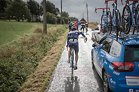 Dimitri Claeys (BEL/Wanty-Groupe Gobert) sent off with a water bottle<br /> <br /> Tour de l'Eurom&eacute;tropole 2016 (1.1)<br /> Poperinge &rsaquo; Tournai (196km)/ Belgium
