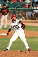 Lancaster JetHawks pitcher Jose Cisnero #18 pitches against the Bakersfield Blaze at Clear Channel Stadium on July 24, 2011 in Lancaster,California. (Larry Goren/Four Seam Images)