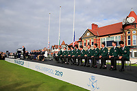 The Teams lined out during the opening ceremony at the Walker Cup, Royal Liverpool Golf CLub, Hoylake, Cheshire, England. 06/09/2019.<br /> Picture Fran Caffrey / Golffile.ie<br /> <br /> All photo usage must carry mandatory copyright credit (© Golffile | Fran Caffrey)