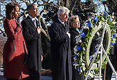 United States President Barack Obama (2nd-L), First Lady Michelle Obama (L), Former U.S. President Bill Clinton (2nd-R) and Former Secretary of State Hillary Rodham Clinton lay a wreath at the gravesite for President John F. Kennedy at Arlington National Cemetery in Arlington, Virginia, November 20, 2013. This Friday will mark the 50th anniversary of the assassination of President Kennedy. <br /> Credit: Pat Benic / Pool via CNP