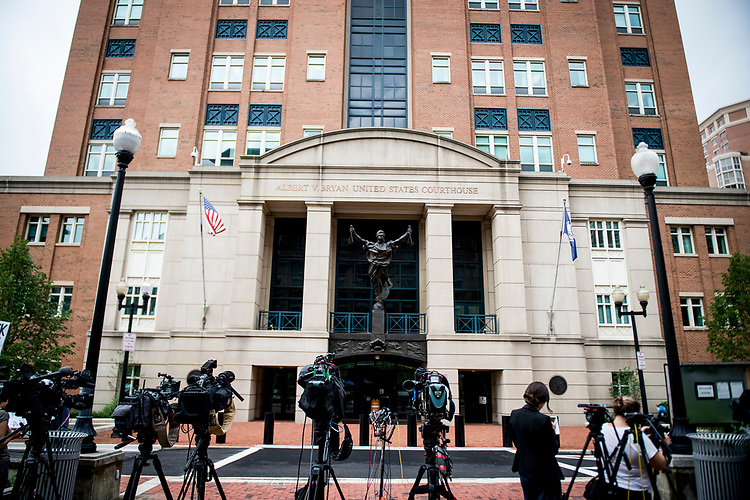 UNITED STATES – JULY 31: Media set up microphones in front of the United States District Court in Alexandria, Virginia where President Donald Trump's former campaign manager Paul Manafort stands trial July 31, 2018.  (Photo By Sarah Silbiger/CQ Roll Call)