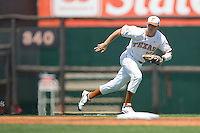 Shortstop Brandon Loy #10 of the Texas Longhorns against Texas Tech on April 17, 2011 at UFCU Disch-Falk Field in Austin, Texas. (Photo by Andrew Woolley / Four Seam Images)