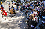 The families and coworkers of fallen firefighters Jerry Harper of the Clark County FD and Richard Chrzanowski of the Carson City FD watch the honor guard bell ceremony during the 2012 memorial induction ceremony at the Nevada Firefighters' memorial in Carson City, Nevada.