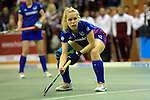 GER - Muelheim an der Ruhr, Germany, February 04: During the FinalFour semi-final women hockey match between Harvestehuder THC (yellow) and Mannheimer HC (blue) on February 4, 2017 at innogy Sporthalle in Muelheim an der Ruhr, Germany. Final score 4-2 (HT 1-2). (Photo by Dirk Markgraf / www.265-images.com) *** Local caption *** Lydia Haase #12 of Mannheimer HC