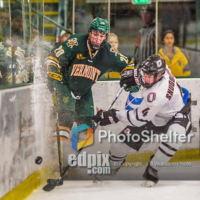 17 October 2015:  University of Vermont Catamount Forward Brendan Bradley, a Junior from Warminster, PA, in second period action against the University of Nebraska Omaha Mavericks at Gutterson Fieldhouse in Burlington, Vermont. The Catamounts fell to the Mavericks 3-1. Mandatory Credit: Ed Wolfstein Photo *** RAW (NEF) Image File Available ***
