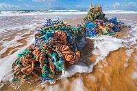 marine debris, fishing gear, washed ashore, Fonte da Telha beach, Portugal, Atlantic Ocean