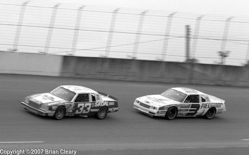 Harry Gant 33 Ricky Rudd 3 action Firecracker 400 at Daytona International Speedway in Daytona Beach, FL on July 4, 1983. (Photo by Brian Cleary/www.bcpix.com)