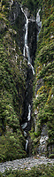 Chapness creek waterfall in Franz Josef Glacier valley, Westland Tai Poutini National Park, South Westland, West Coast, UNESCO World Heritage Area, New Zealand, NZ
