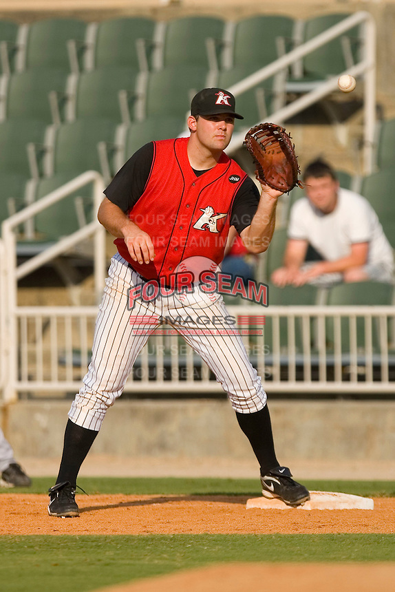 First baseman Dan Black #31 of the Kannapolis Intimidators waits for a throw at Fieldcrest Cannon Stadium July 26, 2009 in Kannapolis, North Carolina. (Photo by Brian Westerholt / Four Seam Images)