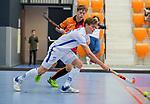 ROTTERDAM  - NK Zaalhockey,   wedstrijd om brons.  heren Oranje Rood- Kampong. OR wint. Silas Lageman (Kampong)        COPYRIGHT KOEN SUYK