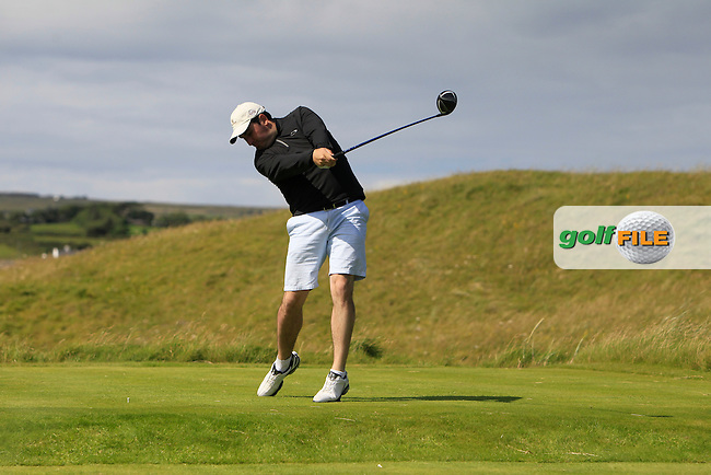 John Greene (Portmarnock) on the 14th tee during Round 2 of the South of Ireland Amateur Open Championship at LaHinch Golf Club on Thursday 23rd July 2015.<br /> Picture:  Golffile | Thos Caffrey