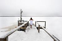 Ice swimming in Arctic Finland.