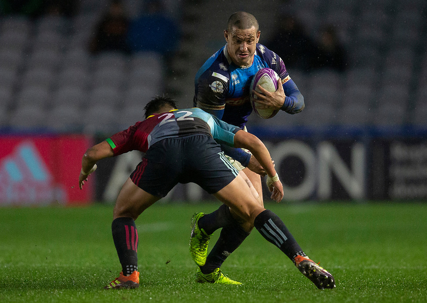 Benetton's Luca Morisi in action during todays match<br /> <br /> Photographer Bob Bradford/CameraSport<br /> <br /> European Rugby Challenge Cup Pool 5 - Harlequins v Benetton Treviso - Saturday 15th December 2018 - Twickenham Stoop - London<br /> <br /> World Copyright © 2018 CameraSport. All rights reserved. 43 Linden Ave. Countesthorpe. Leicester. England. LE8 5PG - Tel: +44 (0) 116 277 4147 - admin@camerasport.com - www.camerasport.com