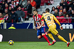 Yannick Ferreira Carrasco (L) of Atletico de Madrid fights for the ball with Jonas Ramalho Chimeno of Girona FC during the La Liga 2017-18 match between Atletico de Madrid and Girona FC at Wanda Metropolitano on 20 January 2018 in Madrid, Spain. Photo by Diego Gonzalez / Power Sport Images