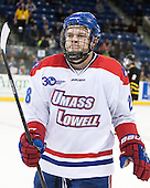Jake Suter (UML - 28) - The University of Massachusetts Lowell River Hawks defeated the visiting American International College Yellow Jackets 6-1 on Tuesday, December 3, 2013, at Tsongas Arena in Lowell, Massachusetts.