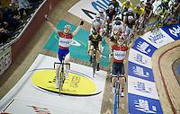 Jasper De Buyst (BEL/Lotto-Soudal) &amp; Otto Vergaerde (BEL/Topsport Vlaanderen-Baloise) present themselves to the crowd<br /> <br /> 2015 Gent 6