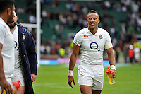 Anthony Watson of England is all smiles after the match. QBE International match between England and Ireland on September 5, 2015 at Twickenham Stadium in London, England. Photo by: Patrick Khachfe / Onside Images