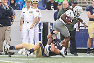 Annapolis, MD - September 8, 2018: Memphis Tigers wide receiver John Pop Williams (9) is tackled by Navy Midshipmen linebacker Taylor Heflin (54) during the game between Memphis and Navy at  Navy-Marine Corps Memorial Stadium in Annapolis, MD.   (Photo by Elliott Brown/Media Images International)