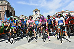 The leaders lined up before the start of Stage 19 of the 2018 Giro d'Italia, running 185km from Venaria Reale to Bardonecchia featuring the Cima Coppi of this Giro, the highest climb on the Colle delle Finestre with its gravel roads, before finishing on the final climb of the Jafferau, Italy. 25th May 2018.<br /> Picture: LaPresse/Gian Mattia D'Alberto | Cyclefile<br /> <br /> <br /> All photos usage must carry mandatory copyright credit (&copy; Cyclefile | LaPresse/Gian Mattia D'Alberto)