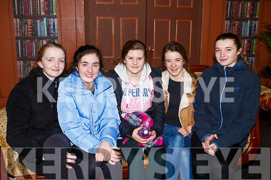 The 5 set designers on stage at the presentation of Mercy Mounthawk's  My Fair Lady in Siamsa Tire on Thursday night last, l to r, Katie Murphy, Isabelle Crowe, Marta Gacek, Molly O'Keefe and Caoimhe Moore