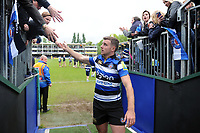 George Ford of Bath Rugby leaves the field after his final home appearance for the club. Aviva Premiership match, between Bath Rugby and Gloucester Rugby on April 30, 2017 at the Recreation Ground in Bath, England. Photo by: Patrick Khachfe / Onside Images