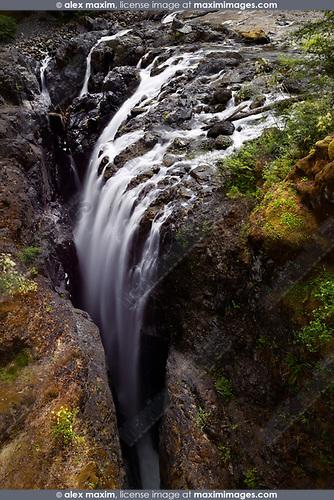 Waterfall in Englishman River Falls Provincial Park. Errington, Vancouver Island, BC, Canada