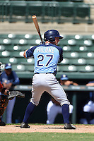 Tampa Bay Rays outfielder Thomas Milone (27) during an Instructional League game against the Baltimore Orioles on September 15, 2014 at Ed Smith Stadium in Sarasota, Florida.  (Mike Janes/Four Seam Images)