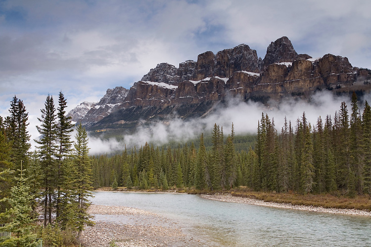 Castle Mountain, along the Bow Valley Parkway, reigns over the Bow River near Banff townsite.
