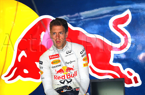 24.05.2012.Monte Carlo, Monaco.  German Formula One driver Sebastian Vettel of Red Bull seen in his teamgarage during the first practice session at the F1 race track of Monte Carlo, 24 May 2012. The Grand Prix will take place on 27 May.