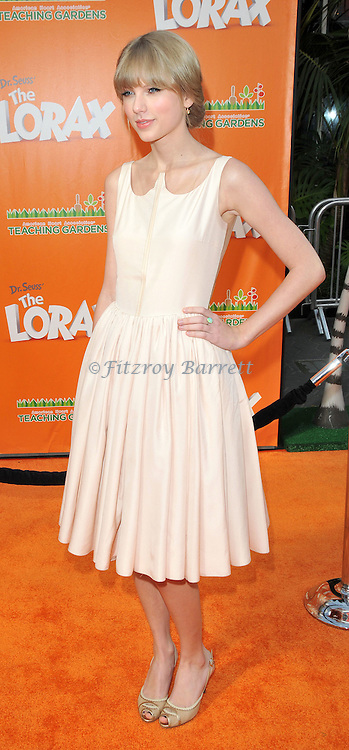 Taylor Swift at the Dr. Seuss The Lorax Premiere held at  Universal Studios  Hollywood, Universal City, CA.. February 19, 2012