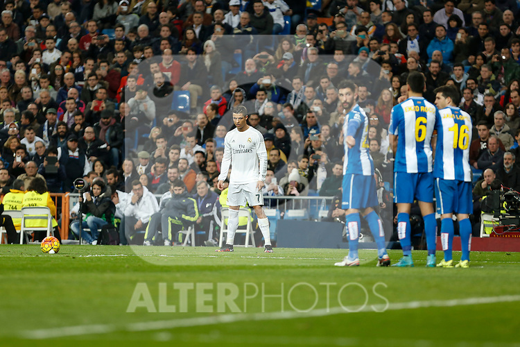 Real Madrid´s Cristiano Ronaldo during 2015/16 La Liga match between Real Madrid and Espanyol at Santiago Bernabeu stadium in Madrid, Spain. January 31, 2016. (ALTERPHOTOS/Victor Blanco)