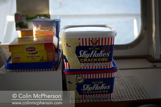 Skyflakes crackers for use by crew and pilots on the bridge of an oil tanker off the coast of Formby which Dave Williamson and his colleague Martin Baxter of the Liverpool Pilotage Service are working aboard. The pilots navigated the tanker from Anglesey to the river Mersey, where it berthed at Tranmere Oil Terminal to discharge its cargo. The Liverpool Pilotage service celebrated its 250th anniversary in 2016.