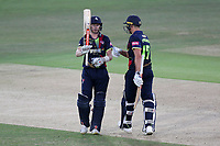 Sam Billings of Kent raises his bat to celebrate reaching his fifty during Kent Spitfires vs Essex Eagles, Vitality Blast T20 Cricket at the St Lawrence Ground on 2nd August 2018