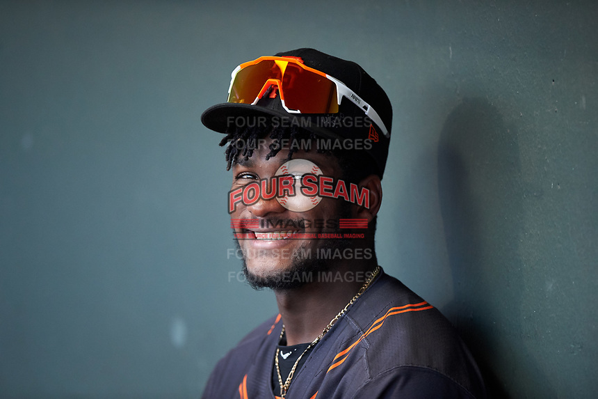 AZL Giants Black Ghordy Santos (8) during an Arizona League game against the AZL Athletics Gold on July 12, 2019 at Hohokam Stadium in Mesa, Arizona. The AZL Giants Black defeated the AZL Athletics Gold 9-7. (Zachary Lucy/Four Seam Images)
