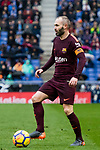 Andres Iniesta Lujan of FC Barcelona in action during the La Liga 2017-18 match between RCD Espanyol and FC Barcelona at RCDE Stadium on 04 February 2018 in Barcelona, Spain. Photo by Vicens Gimenez / Power Sport Images