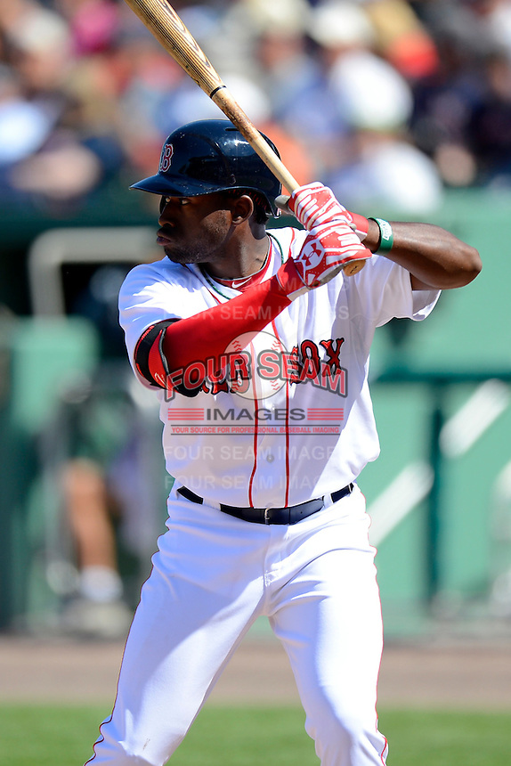 Boston Red Sox outfielder Jackie Bradley Jr. #74 during a Spring Training game against the Miami Marlins at JetBlue Park on March 27, 2013 in Fort Myers, Florida.  Miami defeated Boston 5-1.  (Mike Janes/Four Seam Images)