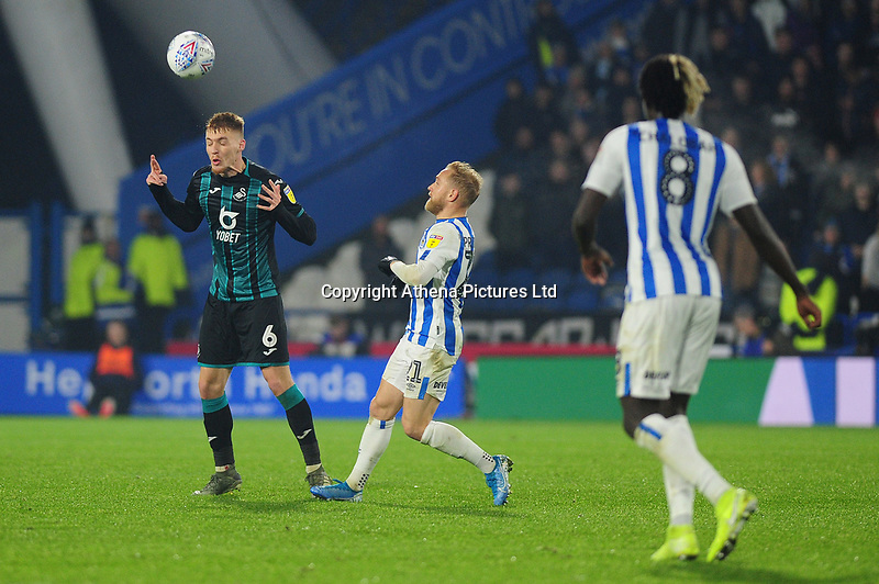 Jay Fulton of Swansea City in action during the Sky Bet Championship match between Huddersfield Town and Swansea City at The John Smith's Stadium in Huddersfield, England, UK. Tuesday 26 November 2019