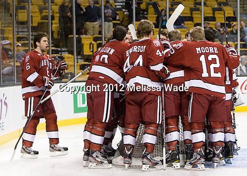 - The Boston University Terriers defeated the Harvard University Crimson 3-1 in the opening round of the 2012 Beanpot on Monday, February 6, 2012, at TD Garden in Boston, Massachusetts.